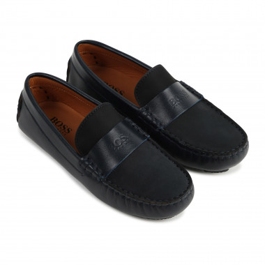 Leather loafers with logo BOSS for BOY