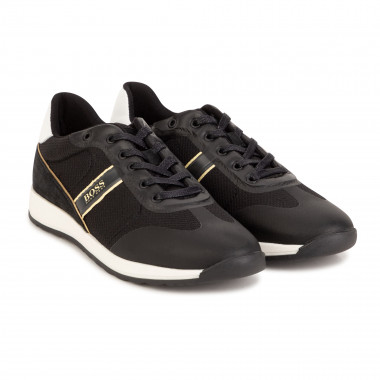 Mixed leather lace-up trainers BOSS for BOY
