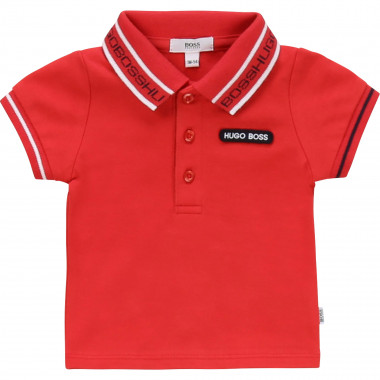 Polo with jacquard collar BOSS for BOY