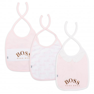 Three-pack of printed bibs BOSS for GIRL