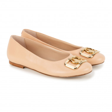 Leather ballet flats with jewelled buckle LANVIN for GIRL