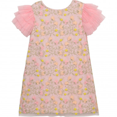 Print dress with tulle sleeves CHARABIA for GIRL