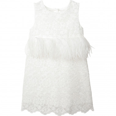 Sleeveless dress with feathers CHARABIA for GIRL