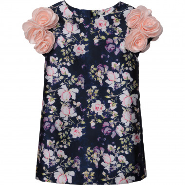 Printed flower satin dress CHARABIA for GIRL