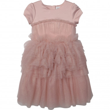 Gold printed tulle dress CHARABIA for GIRL