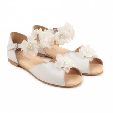 Leather sandals with flowers CHARABIA for GIRL