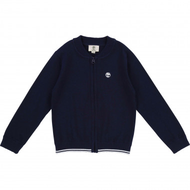 Zipped knitted cotton cardigan TIMBERLAND for BOY