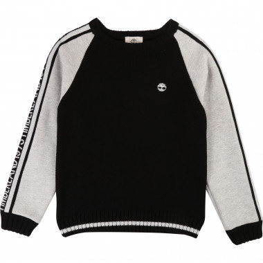 Mixed-fabric jumper with logo TIMBERLAND for BOY