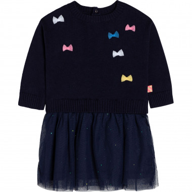 Dual-material dress with bows BILLIEBLUSH for GIRL
