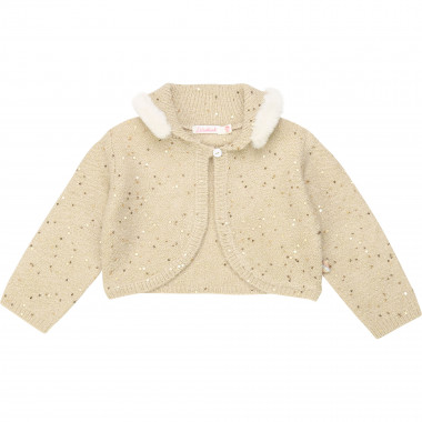 Fur-trimmed sequinned cardigan BILLIEBLUSH for GIRL