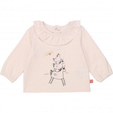 Cotton ruffle-neck T-shirt BILLIEBLUSH for GIRL