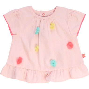Cotton blouse with pompoms BILLIEBLUSH for GIRL
