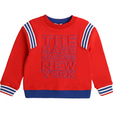 Fleece sweatshirt with striped trim THE MARC JACOBS for BOY