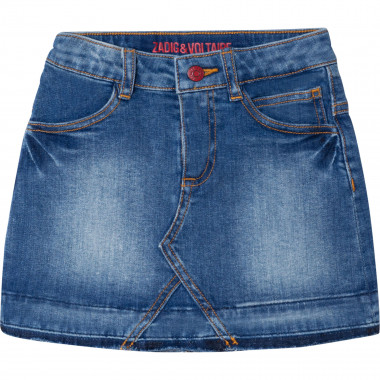 Washed-out denim mini skirt ZADIG & VOLTAIRE for GIRL