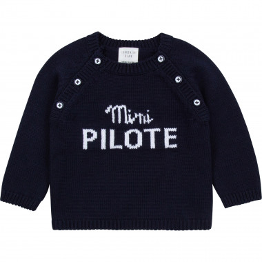 Cotton and wool buttoned jumper CARREMENT BEAU for BOY