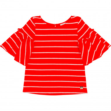 Striped frilled sleeve T-shirt CARREMENT BEAU for GIRL