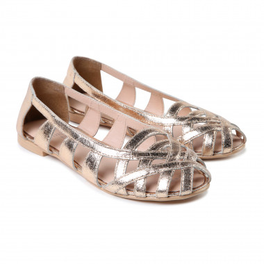Openwork leather ballet flats CARREMENT BEAU for GIRL