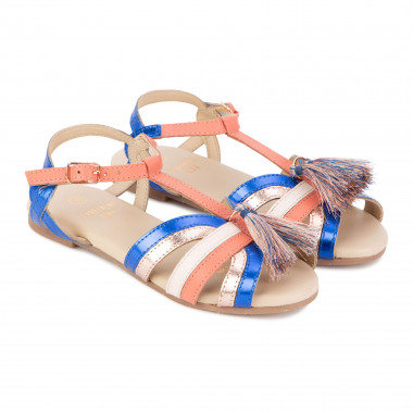 Strappy leather sandals CARREMENT BEAU for GIRL