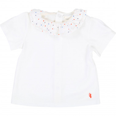T-shirt with frilled collar  for