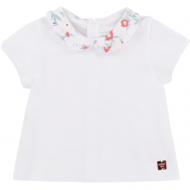 T-shirt with patterned collar CARREMENT BEAU for GIRL
