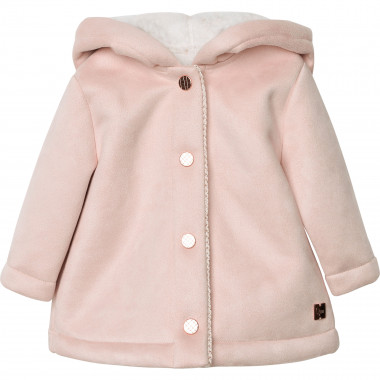 Hooded faux suede coat CARREMENT BEAU for GIRL