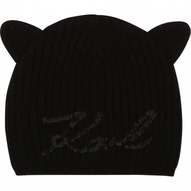 Knitted hat with cat detail KARL LAGERFELD KIDS for GIRL