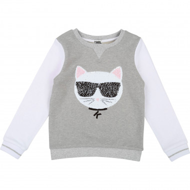 Two-tone printed sweatshirt KARL LAGERFELD KIDS for GIRL