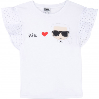T-shirt with butterfly sleeves KARL LAGERFELD KIDS for GIRL