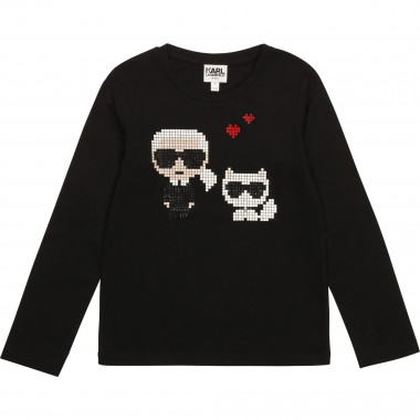 T-shirt with studded motif KARL LAGERFELD KIDS for GIRL