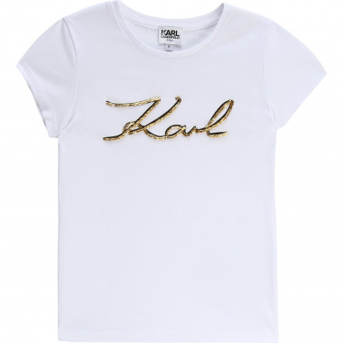 T-shirt with bead embroidery KARL LAGERFELD KIDS for GIRL