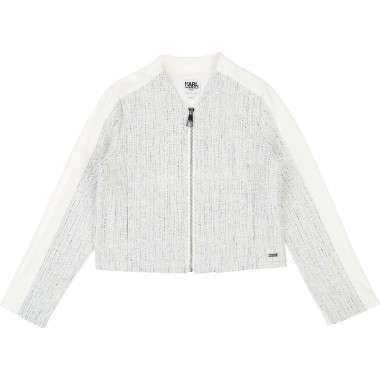 Dual-material zipped jacket KARL LAGERFELD KIDS for GIRL