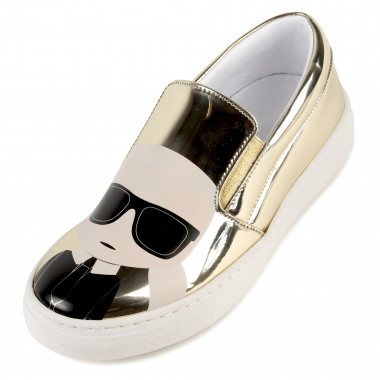 Printed leather slip-ons KARL LAGERFELD KIDS for GIRL