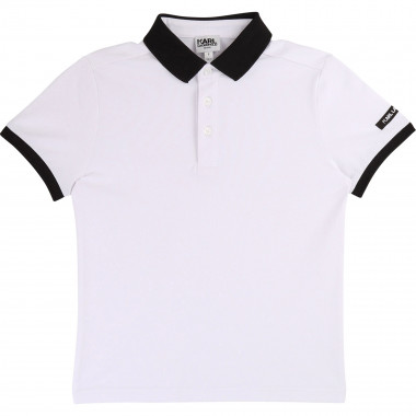 Stretch cotton piqué polo KARL LAGERFELD KIDS for BOY