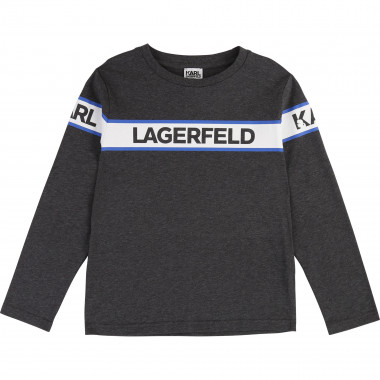 Long-sleeve printed cotton top KARL LAGERFELD KIDS for BOY