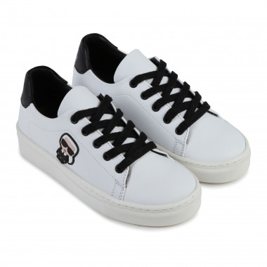 Leather trainers with patch KARL LAGERFELD KIDS for BOY