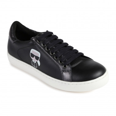 Leather trainers with logo KARL LAGERFELD KIDS for BOY