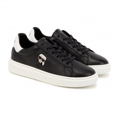 Laced leather low-top trainers KARL LAGERFELD KIDS for BOY
