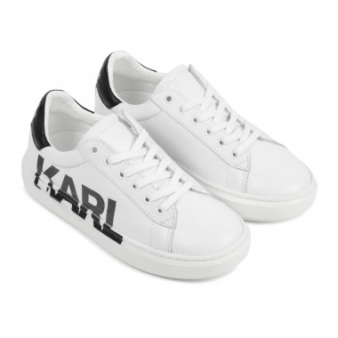 Low-top laced leather trainers KARL LAGERFELD KIDS for BOY