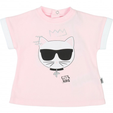 Cotton interlock T-shirt KARL LAGERFELD KIDS for GIRL