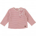 Striped velvet-effect T-shirt CARREMENT BEAU for GIRL