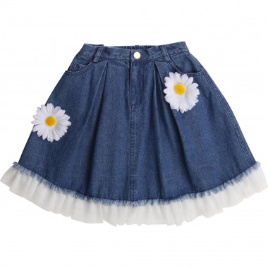 Gonna in denim con fiori CHARABIA Per BAMBINA