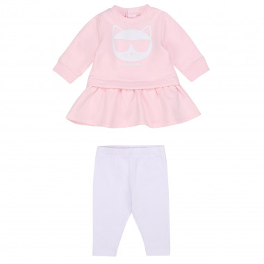 Set abito e leggings in cotone KARL LAGERFELD KIDS Per BAMBINA