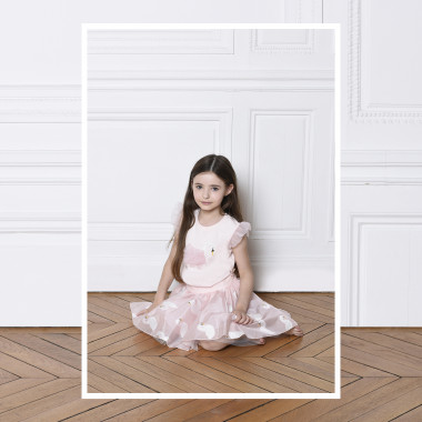 T-shirt with organza armholes CHARABIA for GIRL