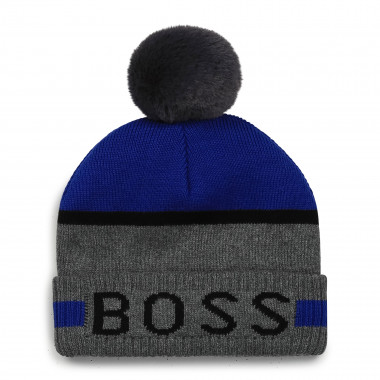 Lined cotton pom-pom hat BOSS for BOY