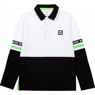 Cotton piqué polo with patch BOSS for BOY