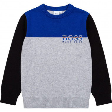Tricolored combed cotton sweater BOSS for BOY
