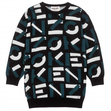 Loose-fit cotton and wool sweater dress KENZO KIDS for GIRL