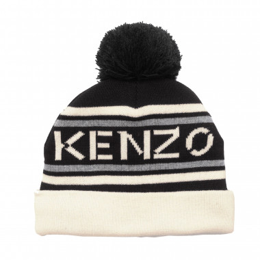 Cotton hat with pompom KENZO KIDS for UNISEX