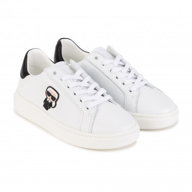 Laced leather low-top sneakers KARL LAGERFELD KIDS for BOY