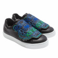 Embroidered leather hook-and-loop sneakers KENZO KIDS for BOY